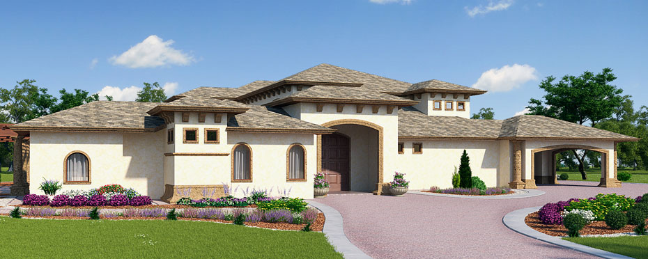 Front rendering of Italian style home